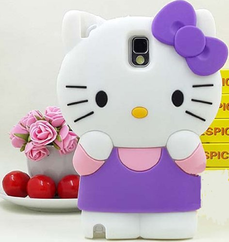 Candymaker New 3D Cartoon Cute Hello Kitty Design Soft Silicone Gel Case Cover for Samsung Galaxy Note III Note 3 N9000(Purple+Light Pink) + Stylus + 2 In 1 Winebottle Style Phone Charm/Anti-dust Plug