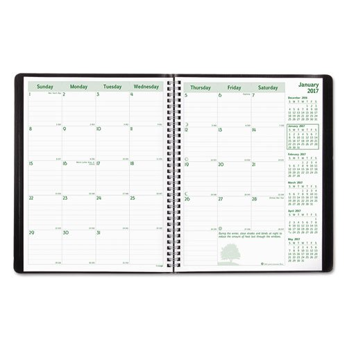 Brownline 2015 Ecologix Monthly Planner 14 Months, English, 11-Inch X 8-1/2-Inch, Black (CB435W.BLK_2015)
