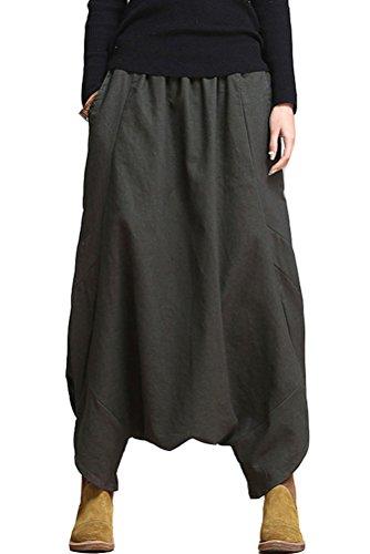 Mordenmiss Women's Drop Crotch Pants Linen Harem Drape Capri Culottes Style 2 Blackish Green
