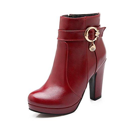 PU Boots Solid Zipper Heels High Low Claret Allhqfashion Top Women's wqFBvxxT
