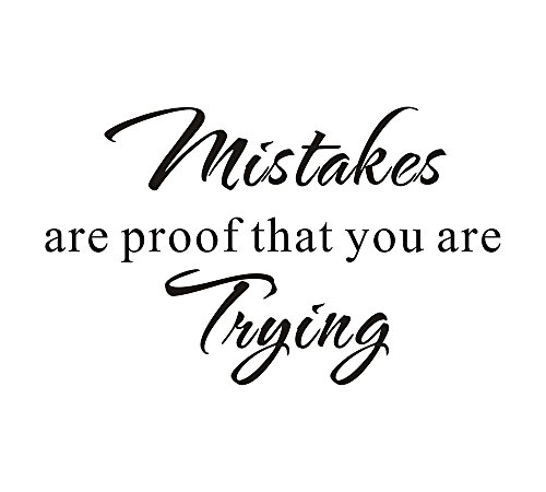 Mistakes Are Proof That You Are Trying School Nursery Education Teacher Classroom Mural DIY Quote Saying Inspirational Wall Sticker Decals Transfer Removable Words Lettering (Size1: 23.2