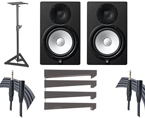 Yamaha HS8 Studio Monitor Pair + Stands + Auralex Mopads + Mogami Cables