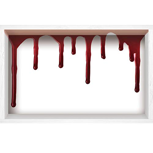 (iPrint 3D Depth Illusion White Wood Frame Style Home Decor Art, Vinyl Wall/Floor Decal Sticker,Halloween Zombie Crime Scary Help me Themed,35.4