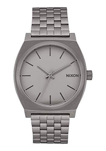 NIXON Time Teller A045 - Dark Steel - 100m Water Resistant Men's Analog Fashion Watch (37mm Watch Face, 19.5mm-18mm Stainless Steel Band)