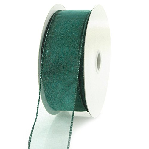 Homeford 4A54 Sheer Chiffon Ribbon Wired Edge, 25-Yard, 1-1/2-Inch, Hunter Green