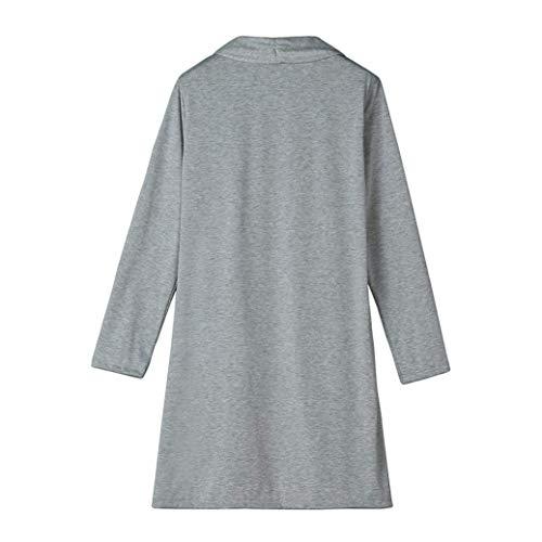 Modern Giubotto Pullover Moda A Autunno Giorno Maglia Stile Lunga Manica Cappotto Fit Slim Donna Grau Di Abbigliamento Monocromo Giacca aCqwx7O7
