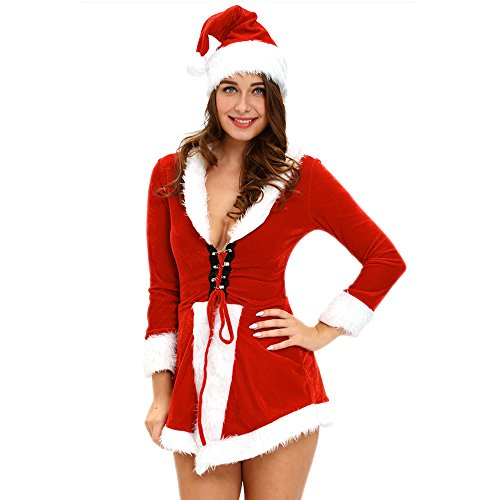 Slocyclub Novelties Women Sweet Miss Santa Suit Halloween Costume (onesize, Style-04) (Holloween Gangster Costume Children)