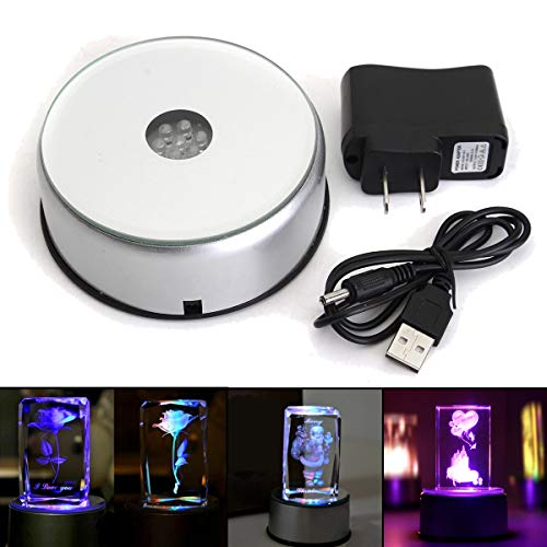 LED Colorful Light Display Base, Rotating Crystal Base Stand Holder with AC 110V-240V US Adapter Silver for Display Jewelry, Watch, Crystals/Glass Art