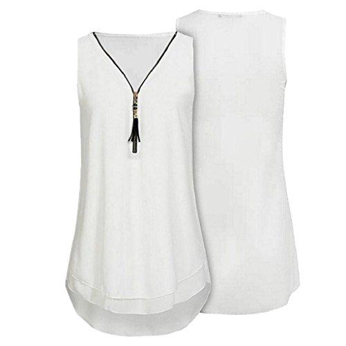 Damen Reißverschluss Bluse Sommer T aushöhlen Hemdbluse V Shirt Weiß 02 Elegant Vorne Ärmellos Rovinci Weste Unregelmäßigkeit Tops Tank Ausschnitt zurück Chiffon Unterhemd Frauen ZdEn7qx4Y