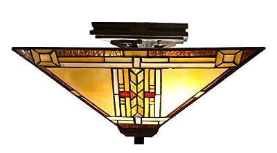Fine Art Lighting Tiffany Semi-Flush Lamp, 14 by 8-Inch, 292 Glass Cuts