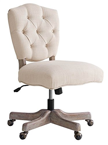 Kelsey White Office Chair in Gray (White Fabric Chair Office)