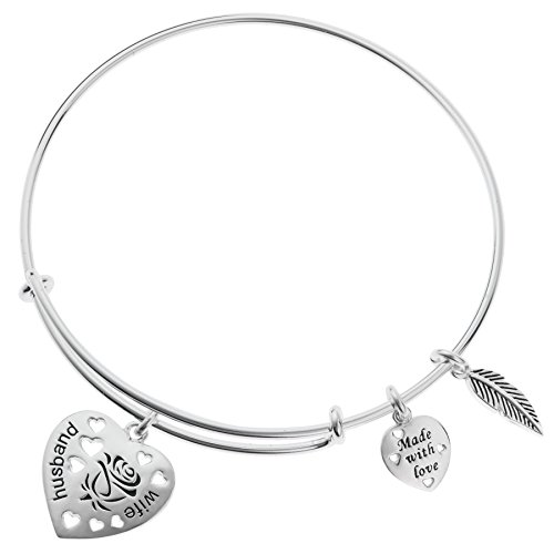 925 Sterling Silver Rose Husband & Wife Heart Feather Charm Adjustable Wire Bangle Bracelet by Qina C