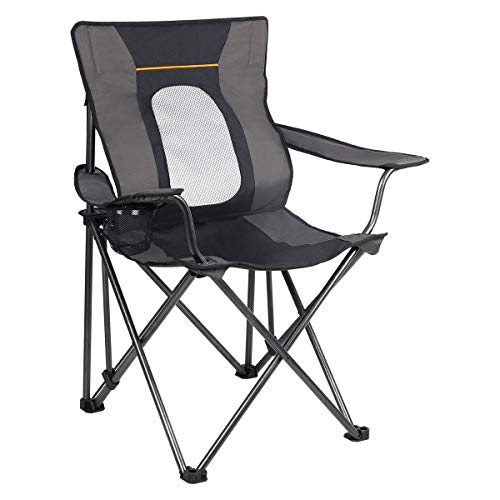 PORTAL Folding Camping Chair with Lumbar Back Support Oversized Heavy Duty Portable Quad Chairs, Cup Holder, Support 300 LBS
