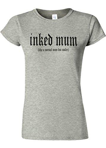 苗無しうつInked Mum Is Cooler Novelty Sports Grey Women T Shirt Top-XXL