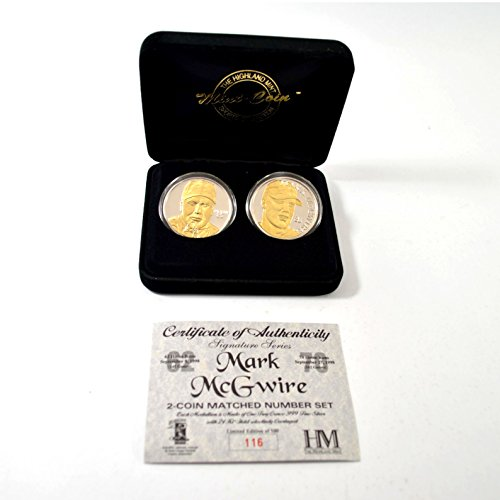 Highland Mint Mark McGwire Two Troy Ounce Silver Coin Set of 2# out of 500