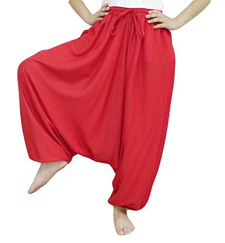 UPC 801284585999, Loongcha Women's Baggy Aladdin Hippy Yoga Harem Pants Adjustable Waist (Red)