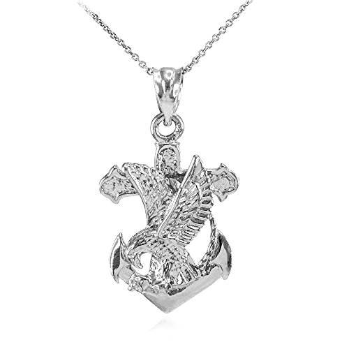 """925 Sterling Silver Navy Eagle Anchor Pendant Necklace, 20"""""""