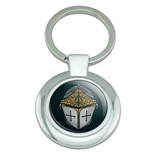 (Knight Warrior Helmet Medieval Roses Templar Classy Round Chrome Plated Metal Keychain)