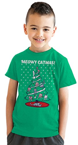 Youth Meowy Christmas Cat Tree Ugly Christmas Sweater T Shirt Green