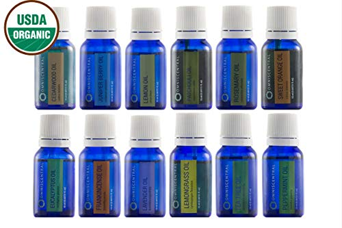 Omniscentral Top 12 Singles Essential Oil Gift Set | USDA Certified Organic, 100% Pure, Therapeutic Grade | Natural Aromatherapy, Diffuser, Meditation, Massage, Steam Baths, Skincare, Haircare | 15 ml