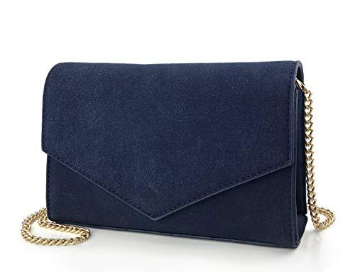 Navy Envelop Evening Clutch Faux Suede Leather Women Chain Cross Body Bag (Navy)