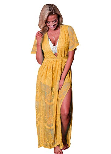 - Eleter Women's Deep V-Neck Lace Romper Short Sleeve Long Dress (Small, Yellow)