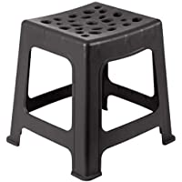 Mintra Home Light Duty Plastic Stools 2pk (12.5in Height, Black)