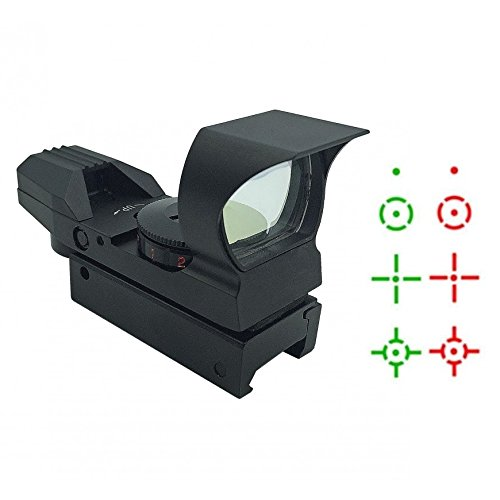 Ultimate Arms Gear Tactical CQB 4 Reticle Dual Red / Green Open Reflex Sight with Integral Sunshade And Rifle Shotgun Pistol Crossbow Weaver-Picatinny Rail Mount Battery And Lens Cleaning Kit