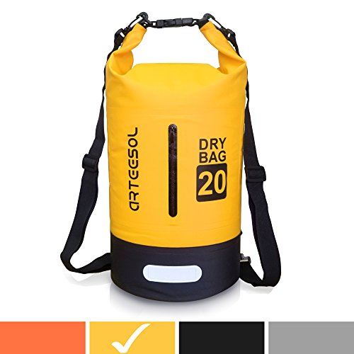 Arteesol Waterproof Bag 5L/10L/20L/30L Dry Bag Rucksack with Double Shoulder Strap Backpack for Swimming Kayaking Boating Fishing Traveling Cycling Beach [4 Colors] (Yellow, 10L) by Arteesol