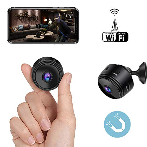 Mini Spy Camera WiFi Hidden Camera Bigear Wireless HD 1080P Indoor Home Small Hidden Nanny Cam Security Cameras Battery Powered with Motion Detection/Night Vision (Black)