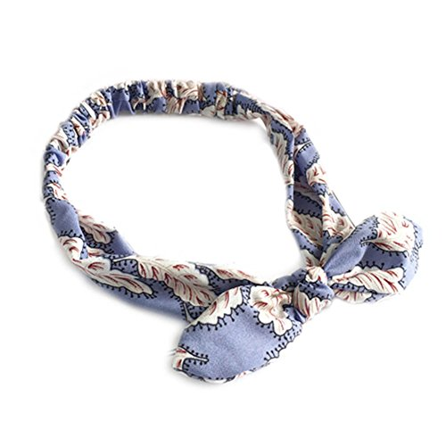 Elastic tightened bow styles fashionable scarf hair band headband (Feathers - light (Decorative Headband Fabric With Feather)