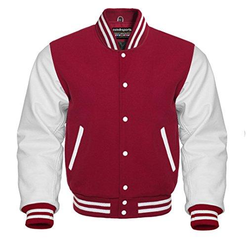 Premium Letterman Baseball School College Bomber Varsity Jacket Wool Blend & Genuine Leather Sleeves (Maroon/White, Small)