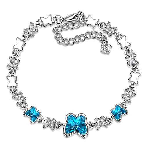 LADY COLOUR Butterfly Bracelet for Women Adjustable Bangle with Swarovski Blue Crystals Fashion Costume Jewelry Brithday Present Wife Her Girls Girlfriend Mom Mother Lady - Crystal Adjustable Blue