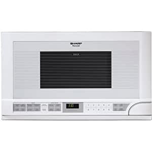 Sharp R-1211 1-1/2-Cubic Feet 1100-Watt Over-the-Counter Microwave, White