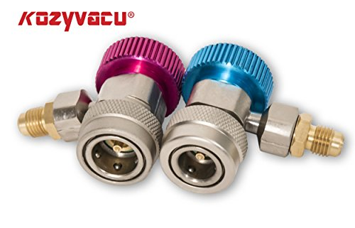 Kozyvacu Adjustable R134A Adapter Fittings Quick Coupler High Low AC Freon Manifold Gauge Hose Conversion kit, 1/4'' SAE HVAC by Kozyvacu (Image #1)