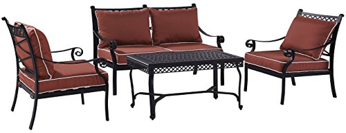 Crosley Furniture KO70062BK-SG Palermo 4-Piece Outdoor Aluminum Conversation Set with Sangria Cushions, Black
