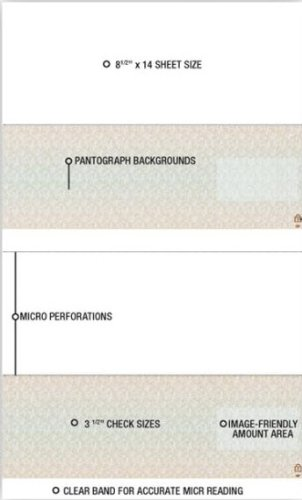 EGP Blank Laser Check Stock - Legal Size - Two Checks per Sheet
