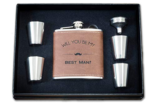 Will You Be My Best Man Flask Box Set- Proposal Gifts- Whiskey Flasks For Asking Best Men - Extra Thick 5mil #304 Stainless Steel, Leak Proof Kit, Dark Brown Faux Leather