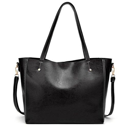 Black Leather Womens Womens Shoulder Leather Stylish Messenger Bag Crossbody Crossbody Stylish Bag q6nfHB