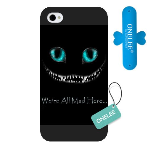 Onelee Customized Black Frosted Alice in Wonderland We're all mad here Cheshire Cat Smile Face iPhone 4 4s case
