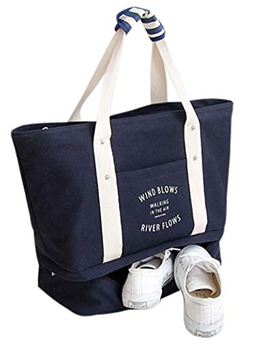 Malirona Large Travel Tote Bag 2-in-1 Beach Tote Bag with Shoes Organizer Canvas Beach Bag Deep Blue