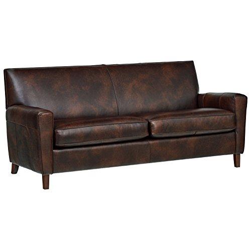 Amazon Com Rivet Lawson Modern Angled Leather Sofa 78 Quot W