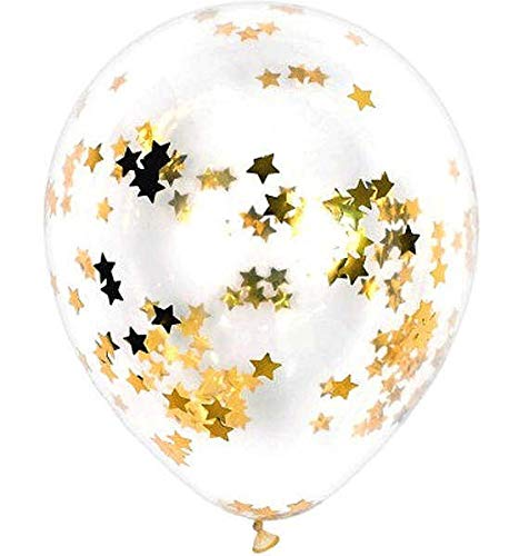(1 Pack of 10 Clear Latex Balloon 12'' with Gold Star Confetti for Party Decoration, Proposal, Birthday, Graduation, Wedding, Gifts All Types of Events)