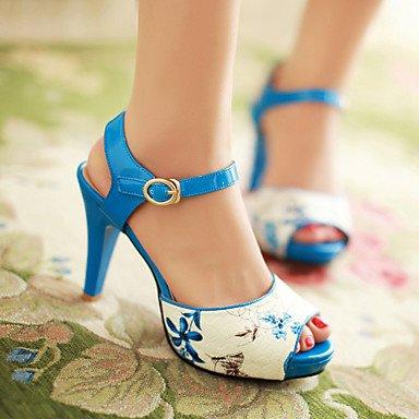 LvYuan Mujer-Tacón Stiletto-Confort Tira en el Tobillo-Sandalias-Oficina y Trabajo Informal Fiesta y Noche-PU-Azul Negro Blue