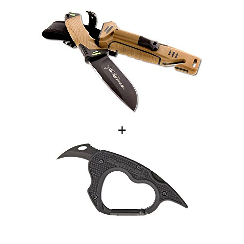 StatGear Surviv All Camping Outdoor Survival Knife with Firestarter, Sharpener, Cord Cutter With Sheath and Carabiner