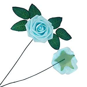 J-Rijzen Artificial Flowers 50pcs Real Touch Light Blue Fake Roses with Stem for Baby Shower Floral Bridal Shower Centerpieces Wedding Bouquet Home Decorations (Light Blue) 4