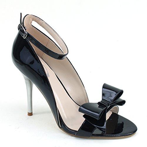 Nouveau Brieten Femmes Cheville Sangle Arc Haut Talon Chaussures De Mariage Noir
