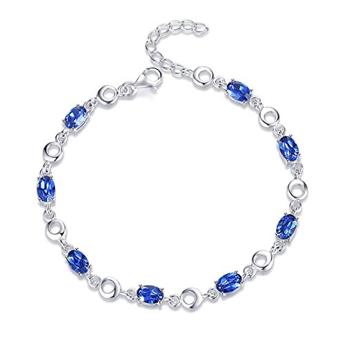(Carleen White Gold Plated 925 Sterling Silver Created Blue Oval Sapphire Tennis Bracelet for Women Girls, 7
