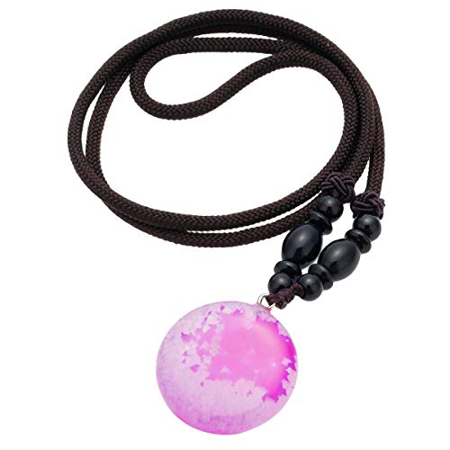 SUNYIK Round Fuchsia Agate Pendant Necklaces for Women, Healing Crystal Point Necklace 24