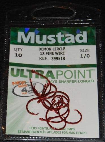 - 10 Pack Mustad 39951R-10 Red Ultra Point Size 1/0 Circle Hooks 1X Fine Wire